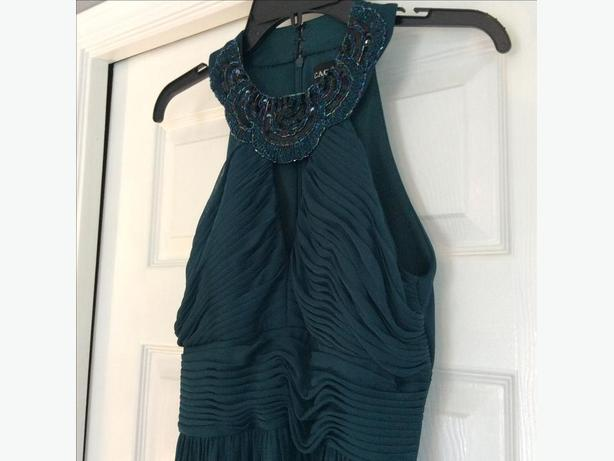 Sequinned, green formal dress - size 8