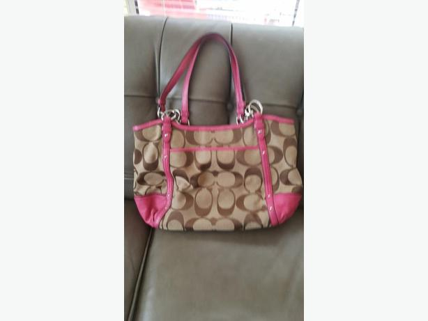COACH Classic Purse/Handbag with Pink Leather Trim