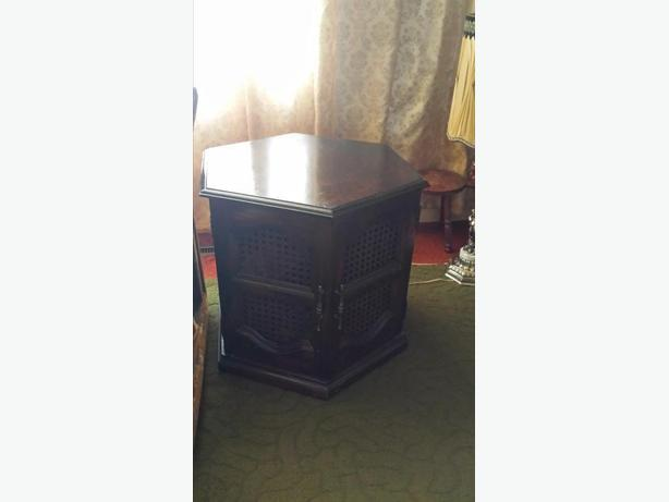 Like New Two Hexagon Wood End Tables with Doors plus long Coffee Table.