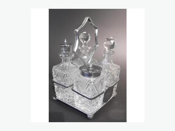 Antique four-bottle cruet (condiment) set, English
