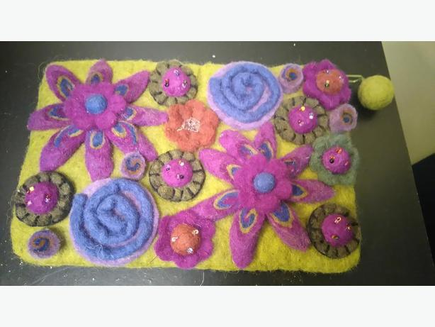 RISING TIDE Handmade FlowerDesign 100% Wool Felted Clutch Purse