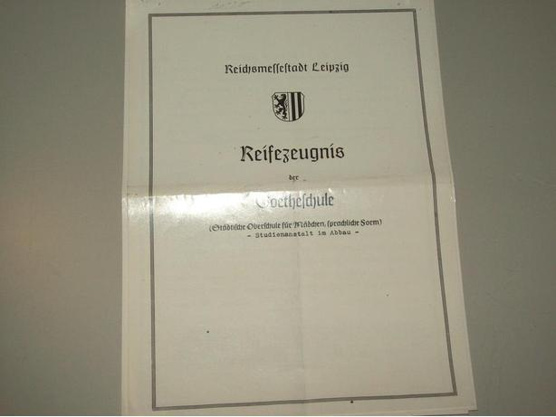 AUTHENTIC RARE WW 2 HITLER YOUTH SCHOOL REPORT CARD
