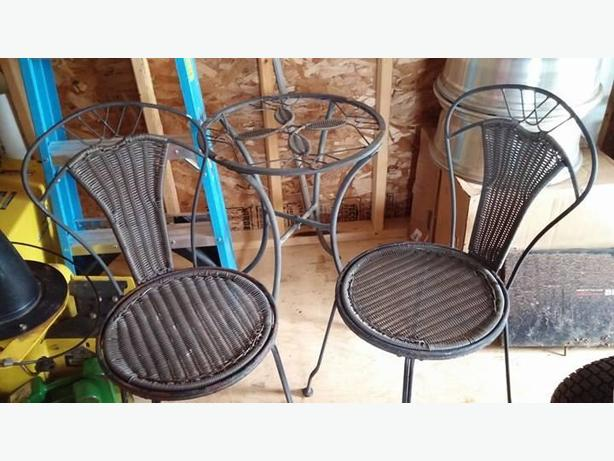 Cast Iron Glass Table & 2 Wicker Cast Iron Chairs (Set)