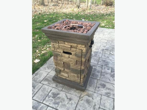 outdoor stone propane firepit