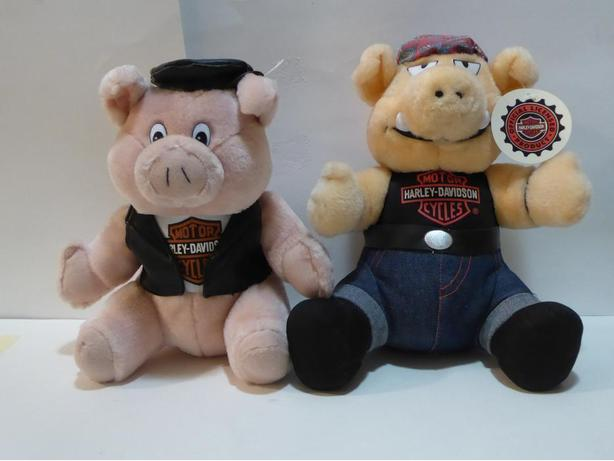 "HARLEY DAVIDSON MOTORCYCLE ""HOG"" & ""PIG"" STUFFED ANIMALS -- MINT -- $20. EACH"