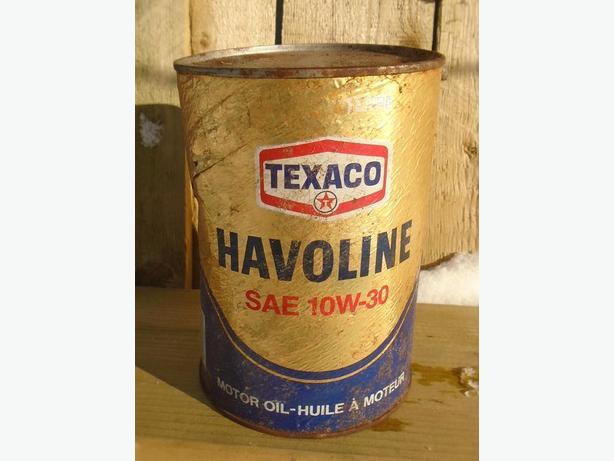 VINTAGE 1970's TEXACO HAVOLINE MOTOR OIL (1 LITRE) FIBRE CAN