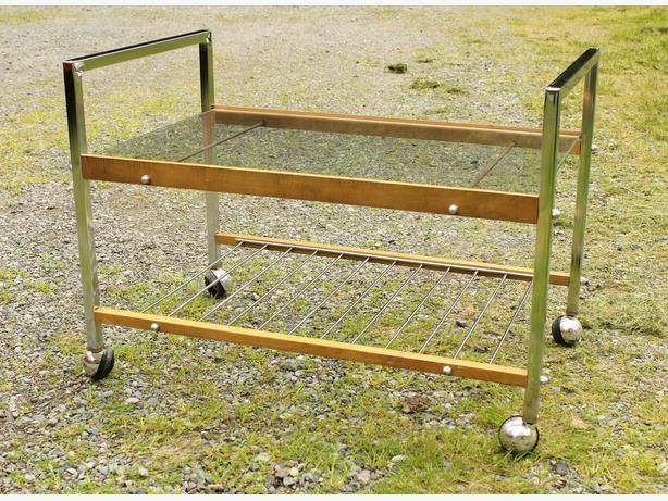 Metal cart with glass shelf