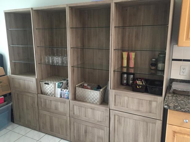 IKEA 'Besta' Custom Walnut/Glass Shelving Units