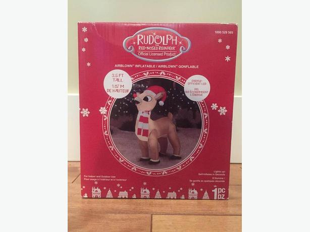 Rudolph x-mas deco: inlates and lights up 3.5 ft