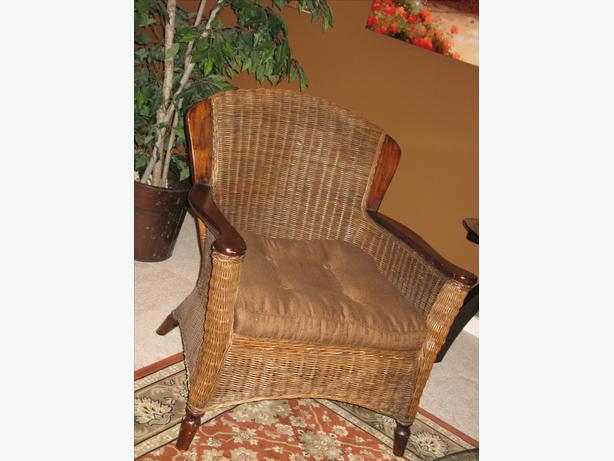 Wood & Wicker Pier 1 Feature Chair + Pillow