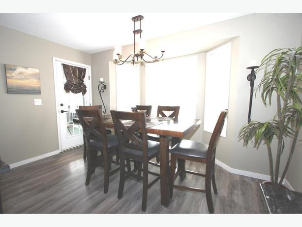 Solid wood dining table + 6 high chairs + 2 leafs