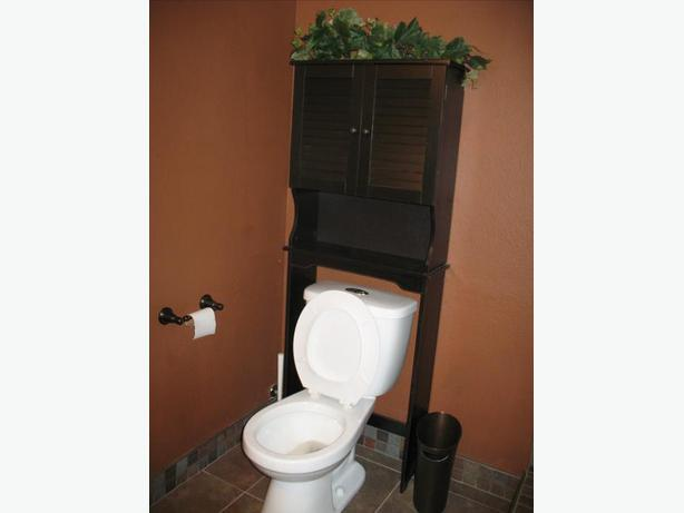 Shelving over-toilet, white and brown - louvered 2 door+shelf