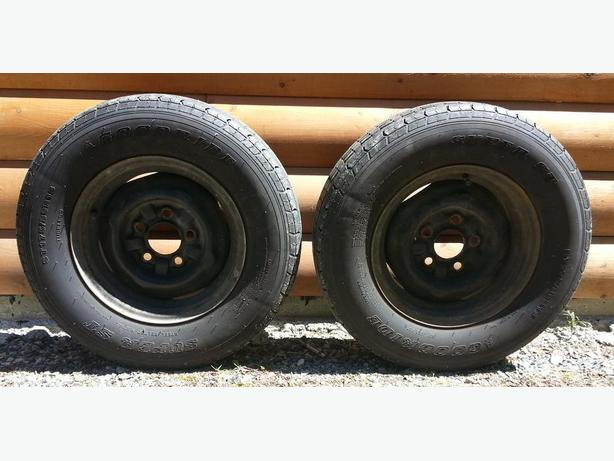 Pair Of 13 Inch Trailer Tires With Rims And Wheel Covers North