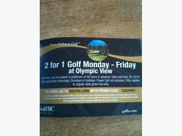 OLYMPIC VIEW GOLF 2 FOR 1 COUPONS!!!