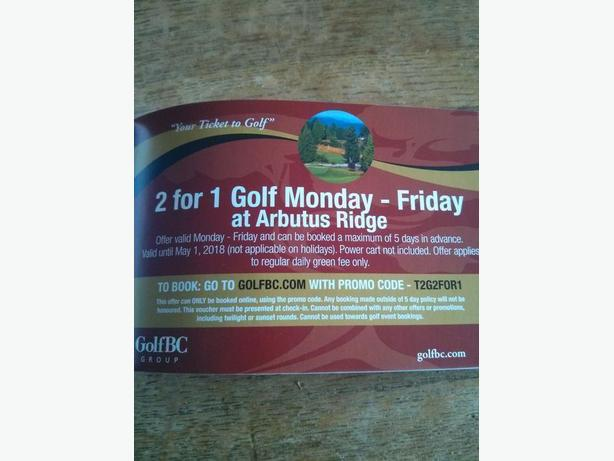 ARBUTUS RIDGE GOLF 2 FOR ! COUPONS!!!