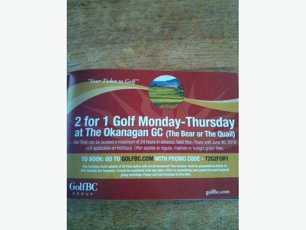 THE OKANAGAN GOLF COURSE 2 FOR 1 COUPONS!!!