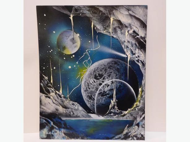 'FUTURISTIC PLANETS' SPRAY PAINTED ORIGINAL SIGNED PAINTINGS - MINT