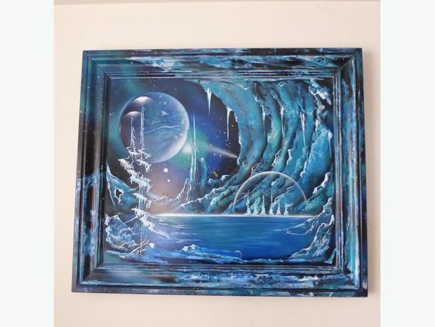 'ICE PLANET' ORIGINAL SIGNED SPRAY PAINTED PAINTING -- MINT CONDITION