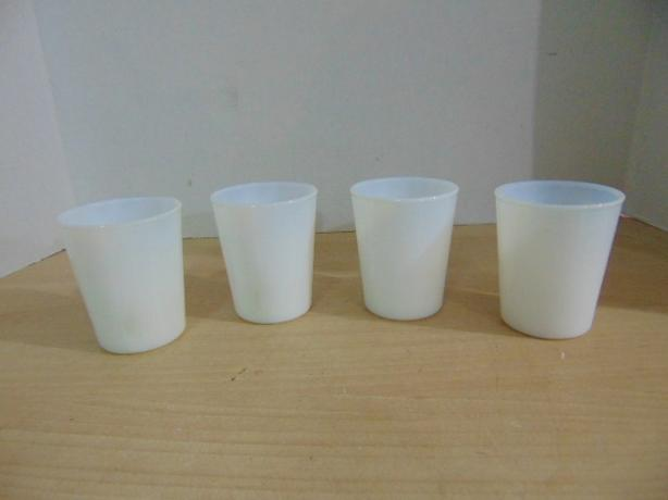4 Antique Child Size Milk Glass Cups Opalescent 3.5 inch