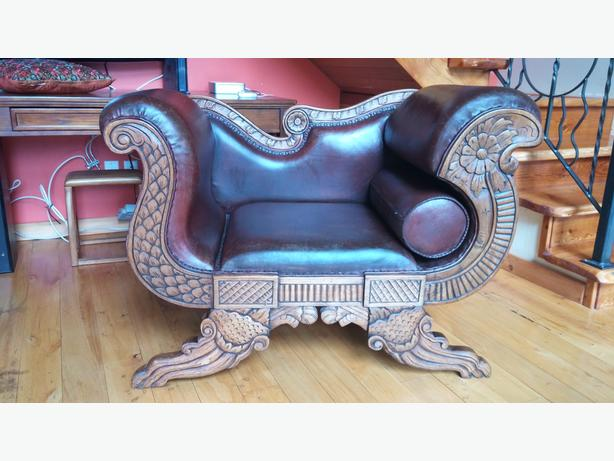 Indonesian Hand Carved Leather Sofa And Chair