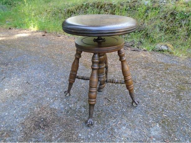Amazing Antique Oak Spinning Piano Stool W Glass Ball Eagle Claw Gamerscity Chair Design For Home Gamerscityorg