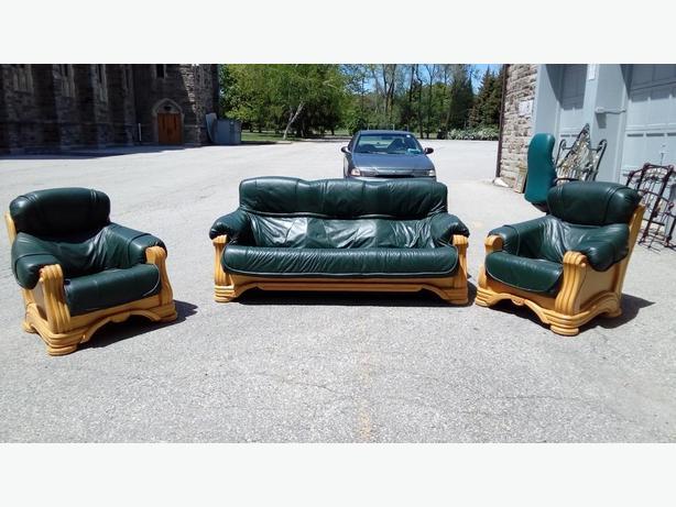 Leather and oak Sofa set