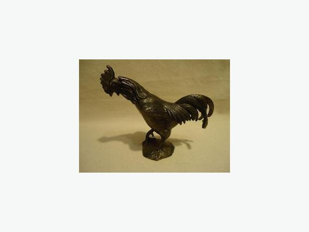 Metallic Metal ROOSTER Chicken figurine Jewelry TRINKET BOX