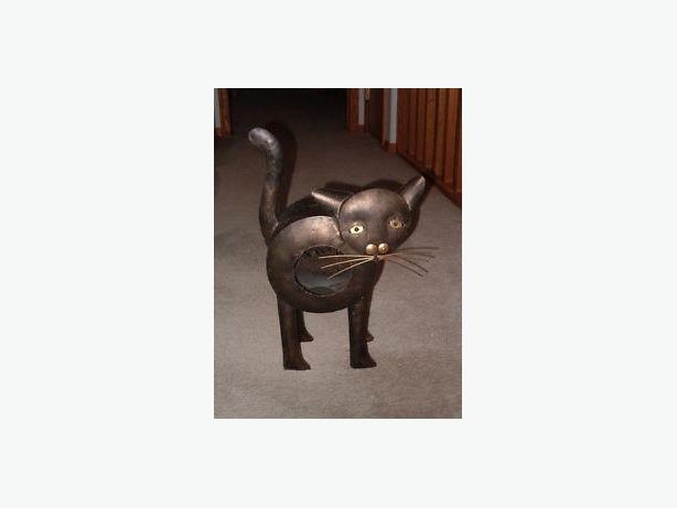 Cat metal-art morbid candle-holder