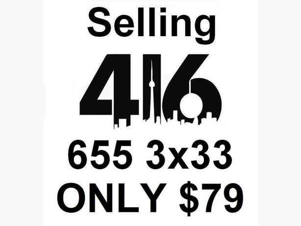 Selling 416 Number 416.655.3x33 for ONLY $79 - NO Contract