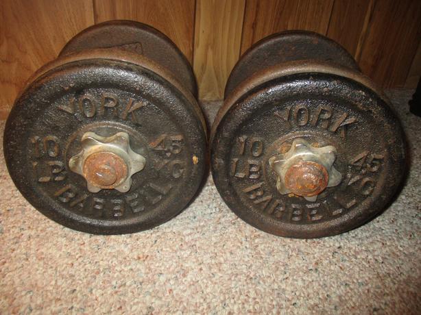 A Pair of 40lb Fixed York Dumbells