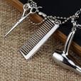 Collier - pendentif coiffure - peigne, ciseaux, sèche-cheveux