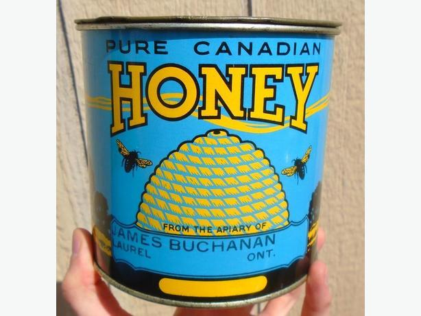 VINTAGE 1940's PURE CANADIAN HONEY (4 lbs) TIN CAN - LAUREL, ONT.