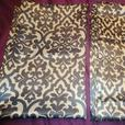 2 Curtain Panels - Classic Damask Pattern Black Brown & Gold