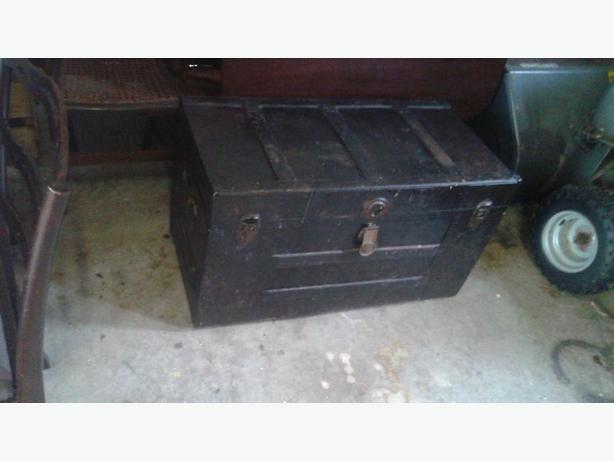 Old Metal Trunk with Oak ribs, perfect size for coffee table