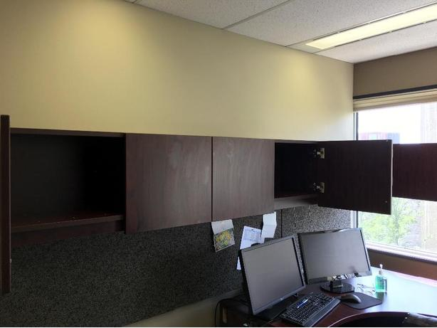 Brown 19' long wall shelf with 6 cabinets