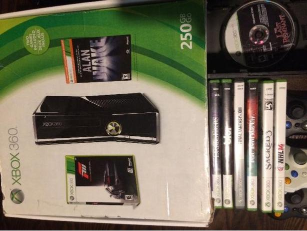 250G x-box 360, 3 remotes and games.