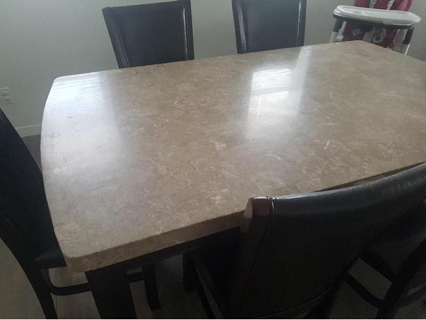 Large marble table with 6 chairs