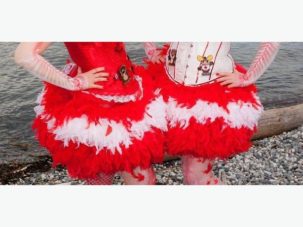 For Canada Day - Red Crinoline with Attached Boas