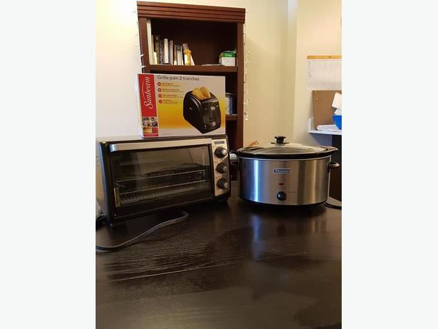 Toaster oven, Toaster (NEW) and Crockpot