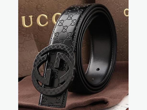 Brand New Gucci Black Buckle Premium Genuine Leather Belt for Men