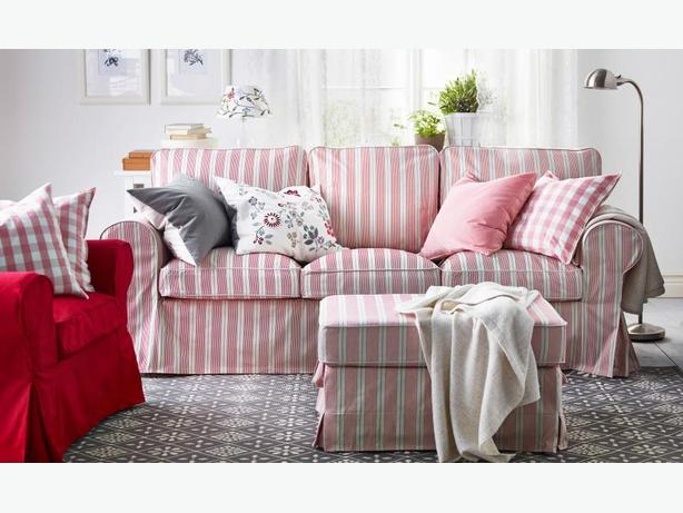 Ikea ektorp mobacka stripe sofa west shore langford for Ikea sofa rosa