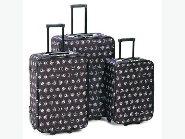 Gothic Skull & Crossbones 3PC Luggage Set Brand New