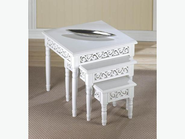 Chic White Nesting Accent Tables With Decorative Cutouts 3PC Set Brand New