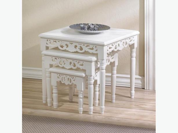 Cottage Chic Nesting Tables 3PC Set Brand New White