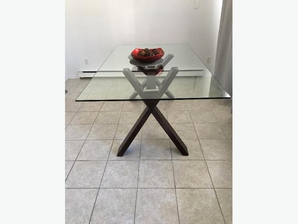 glass table with solid wood base (espresso)