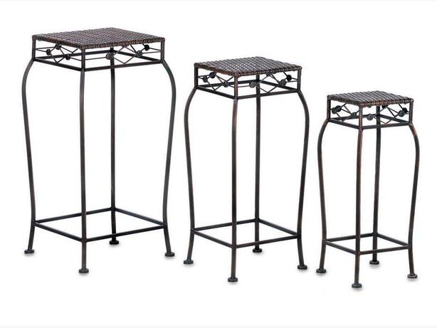 Plant Stand Side Tables Different Heights with Wicker Rattan Tops 3PC Set New