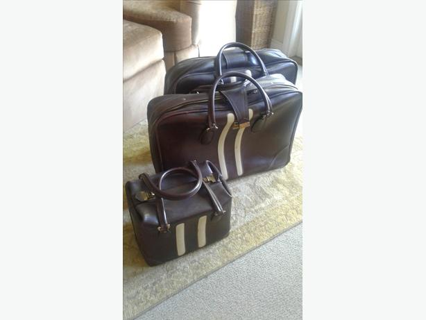 3-piece Italian Leather Luggage Set