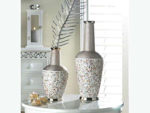 Stoneware Decorative Vase Seashell Accents Metallic Trim Lg & Sm 2PC Mix New