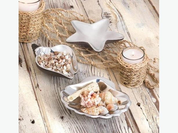 Seashell Dish Bowl 3 Different & Vase 4PC Mixed Lot Coastal-Inspired