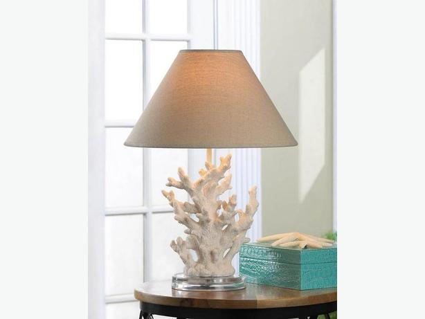 Ocean-Themed Sculpted Coral Branch Table Lamp Round Glass-Look Base New White